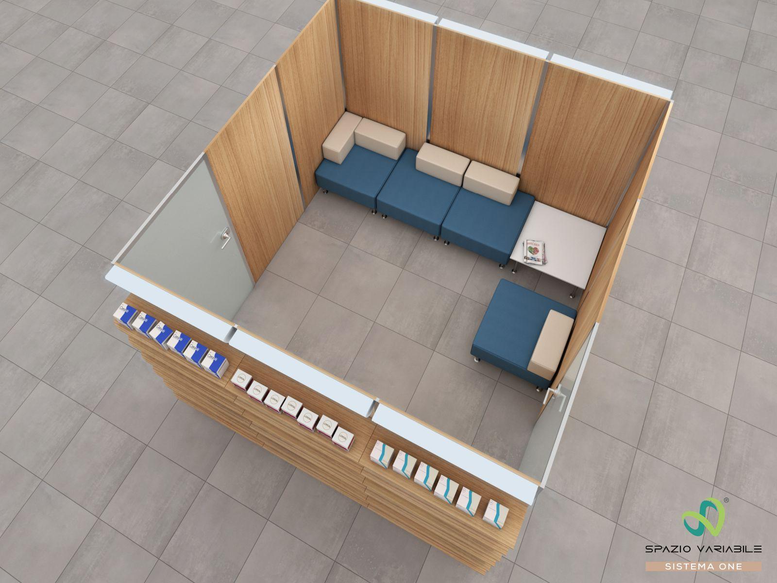 Esempio di combinazione del sistema ONEⓇ - saletta 3 di 9 mq dove effettuare consulenze